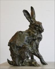 lièvre,chasse,bronze,sculpture modelage,