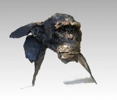 chimpanzée, bronze, chapon,gambino,primate,sculpture ,modelage,singe,solitude,portrait,
