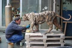gambino,tigre,fonderie,patine,bronze,art,animalier,chapon,rayures,