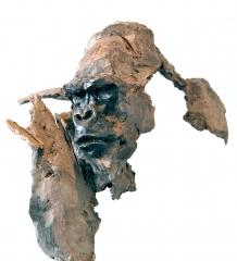 gorilla,gorille,sculpture,gambino,terre,cuite,patinée