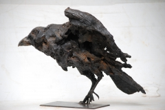 corbeau, terre,cuite,corvidé,gambino,oiseaux,bec,champs,sculpture,modelage