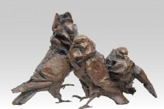 pigeons,capucins,bronze,sculpture,chapon,groupe,